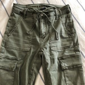 Army olive green pants skinny with pockets